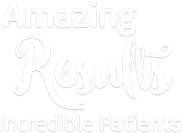"""Amazing Results Incredible Patients"" white words on grey background, Fishbein Orthodontics"