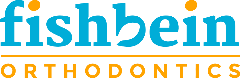 Fishbein Orthodontics logo, blue and orange colors