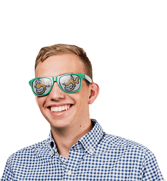 young boy smiling, straight white teeth, wearing sunglasses with fishbein logo and blue/white checkered shirt