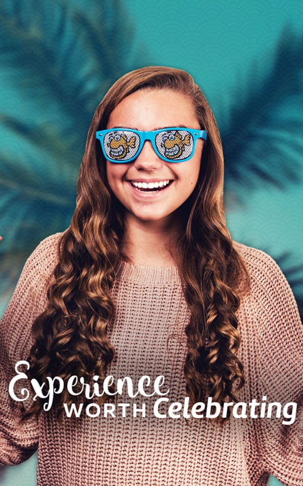 experience worth celebrating text over young girl straight teeth fishbein logo blue sunglasses straight teeth